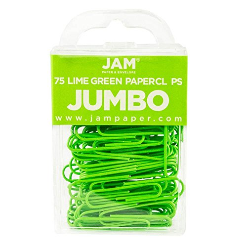JAM Paper® Jumbo Paper Clips - Large 2 Inch Paperclips - Lime Green - 75 Paper Clips per Pack