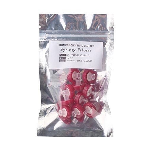 Biomed Scientific Syringe Filters PVDF 13 mm Diameter 0.22 um Pore Size Non Sterile Pack of 10 pcs
