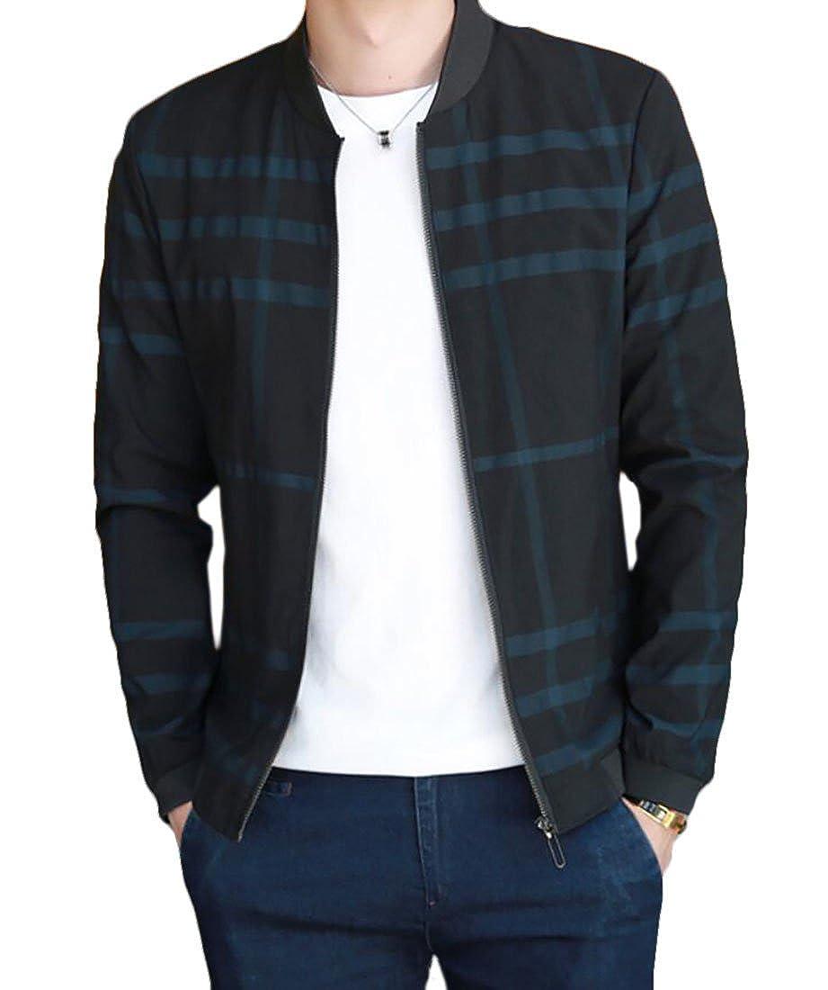 KLJR Men Casual Slim Fit Baseball Plaid Bomber Jacket Coat