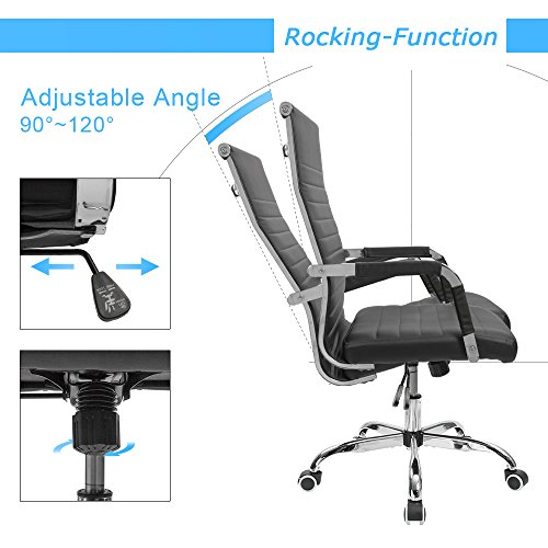 Furmax Ribbed Office Desk Chair Mid-Back Leather Executive Conference Task Chair Adjustable Swivel Chair with Arms (Black) by Furmax (Image #3)