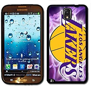 Samsung Galaxy Note 3 Black Rubber Silicone Case - LA Lakers Fans Logo Purple Yellow Lakers Baby