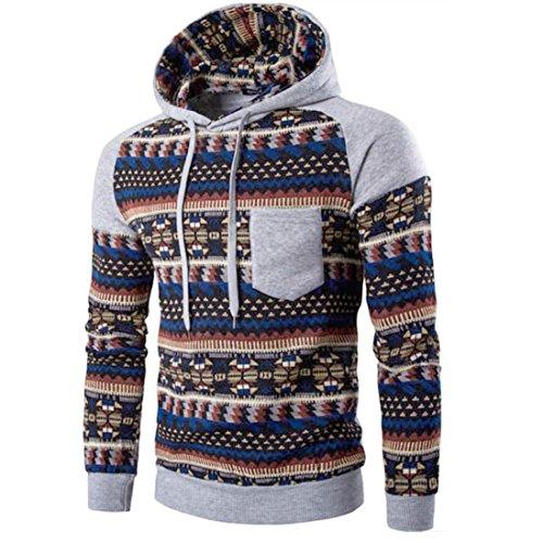 Sweatshirt Hoodies Andsome Men Retro Long Sleeve Hoodie Hooded Sweatshirt Tops Jacket Coat Outwear Pullover (Gray, - Designer Chart Measurement