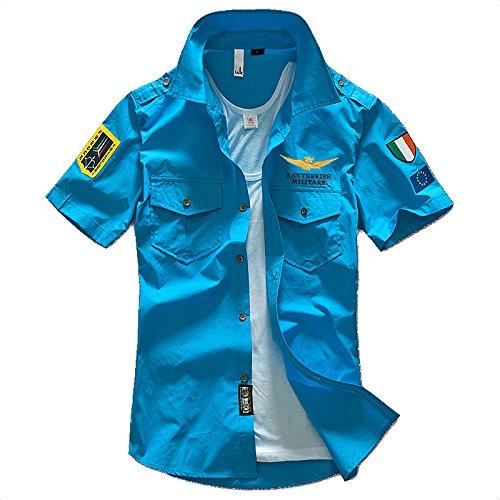 (NAIL39) カジュアルシャツ メンズ ゴルフウエア 半袖 シャツ Tシャツ ストリート ワッペン アーミー エンブレム 襟付き 普段着 ポケット 夏 重ね着 アウトドア