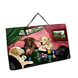 Home of Labrador 4 Dogs Playing Poker Photo Slate Hanging