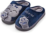 WYSBAOSHU Kids Slippers Warm Coral Fleece Cat Indoor House Shoes for Boys and Girls