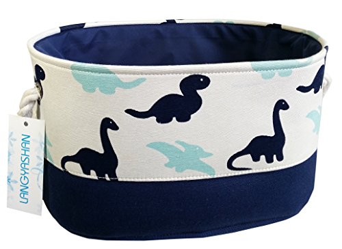 Oval Storage Basket Collapse Canvas Fabric Cartoon Storage Bin with Handles for Organizing Home/Kitchen/Kids Toy/Office/Closet/Shelf Baskets(Dinosaur)