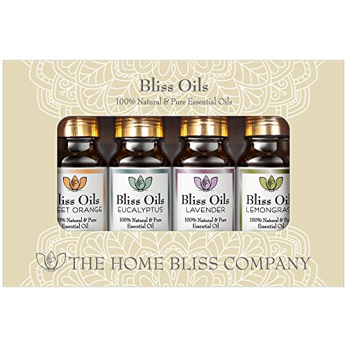 New Bliss Oils - Essential Oils Aromatherapy Top 4 Gift Set - 100% Pure & Natural. Inc. Eucalyptus, Lavender, Sweet Orange & Lemongrass Oil in 10ml Glass Bottles.