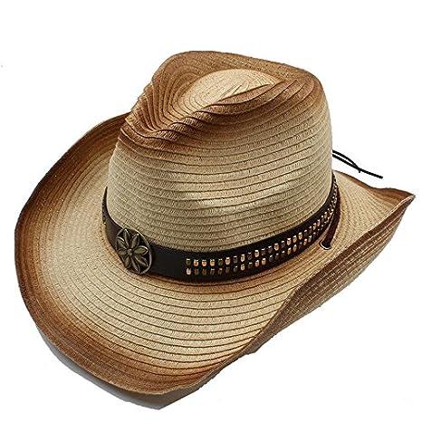 XZP Western sombrero vaquero para hombre hueca de paja Jazz gorra ...
