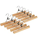 Wooden Skirt/Pants / Slacks Hangers - Non Slip - Durable & Long Lasting - Sophisticated Design - Tan - 10 Pack, 10 Inches