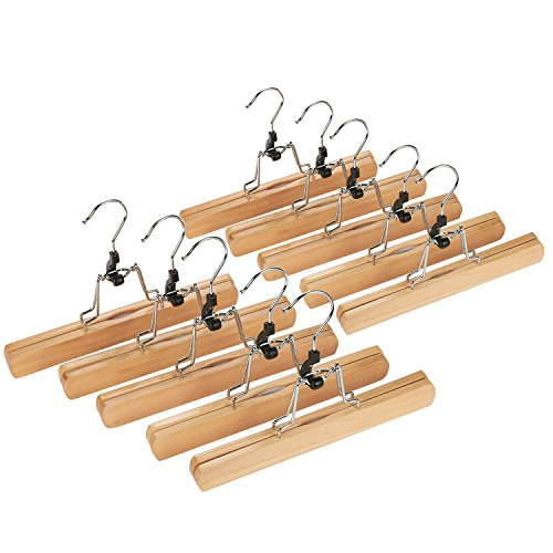 Wooden Skirt/Pants/Slacks Hangers - Non Slip - Durable & Long Lasting - Sophisticated Design - Tan - 10 Pack, 10 Inches