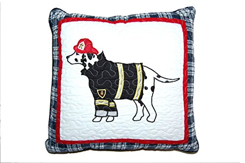 Cozy Line Home Fashions Dog Square Throw Pillow, Red Navy White Embroidered Print Pattern Stuffed Toy Doll Cotton Decorative Pillow, Gifts for Kid Boys (Dog Pillow, Decor pillow - 1piece) by Cozy Line Home Fashions
