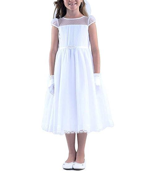 MerryGirl Impresionante Vestido de Encaje de niñas con Manga ...