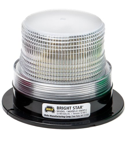 - Wolo (3365P-C Bright Star Emergency Warning Strobe Light - Clear Lens, Permanent Mount