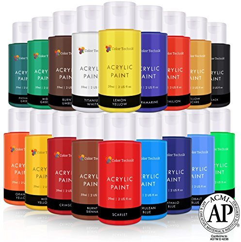 (Acrylic Paint Set By Color Technik, Artist Quality, LARGE SET - 18x59ml (2-Ounce) Bottles, Best Colors For Painting Canvas, Wood, Clay, Fabric, Nail Art & Ceramic, Rich Pigments, Heavy Body, GIFT BOX)