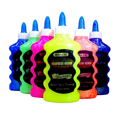 6 Color Glitter Glue Set (6.7oz - 200 ml Bottles) NEON Colors - Pink, Green, Blue, Yellow, Purple, and Orange