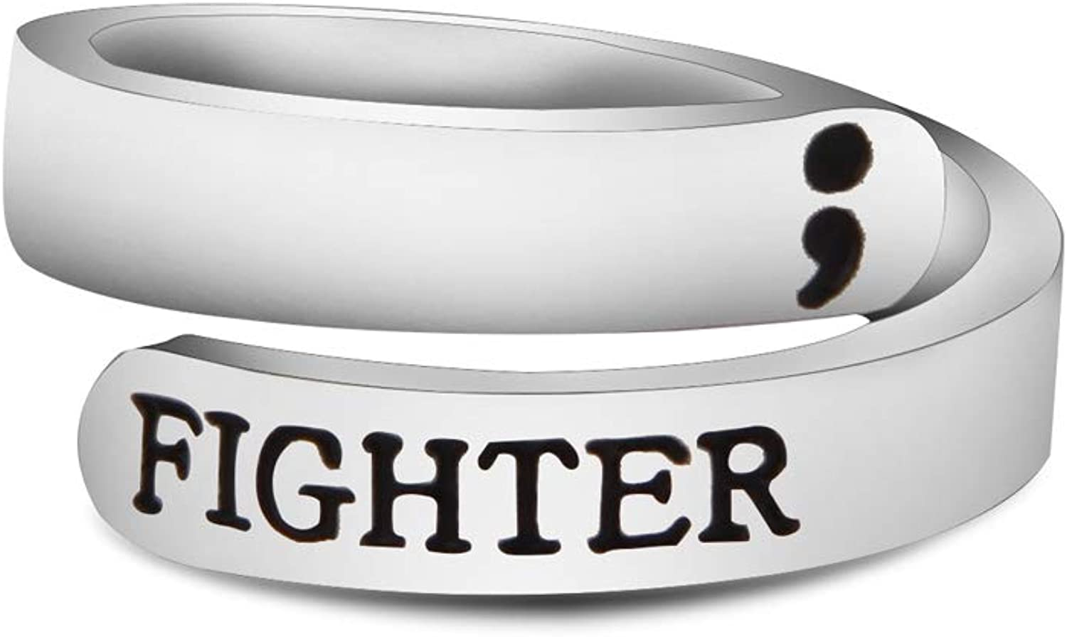 WUSUANED Adjustable Semicolon Ring for Fighter Warrior Motorcycle Biker Ring Men Jewelry