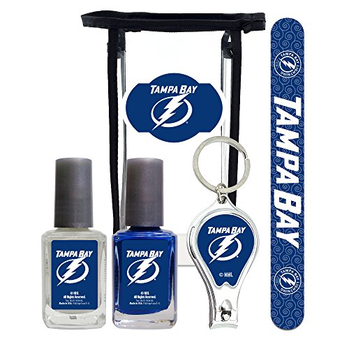 NHL Tampa Bay Lightning Manicure Pedicure Set with 7-Inch Nail File, Nail Clippers, 2 Nail Polishes in Team Colors, and Toiletry Bag for the Whole Kit. NHL Gifts for Women.