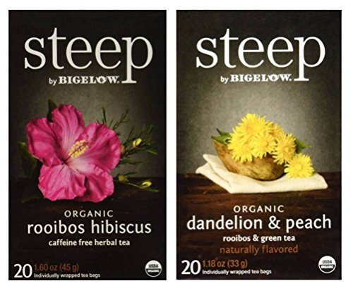 Steep By Bigelow Organic Gluten-Free Non-GMO Tea 2 Flavor Variety Bundle: (1) Bigelow Organic Rooibos Hibiscus Herbal Tea, and (1) Bigelow Organic Dandelion Peach Rooibos & Green Tea, 1.18-1.60 Oz Ea