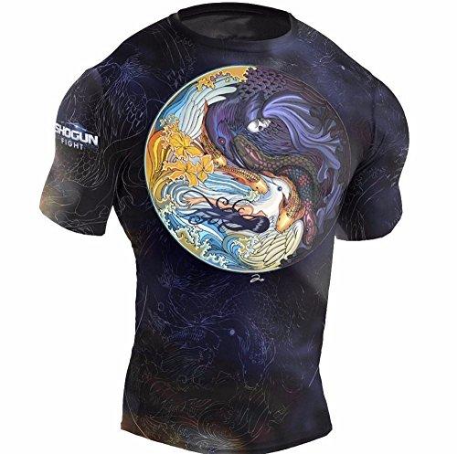 Shogun Fight Rash Guard Tao' BJJ MMA Premium Jiu Jitsu Fighting Grappling Compression Shirt (Shogun Short)