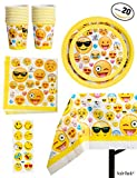Toys : 81 Piece Emoji Birthday Party Supplies - Including Custom Plates, Cups, Napkins, and Tablecloth, Serves 20