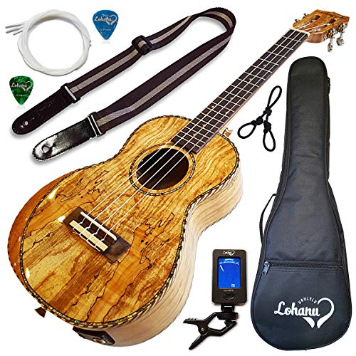 - Ukulele From Lohanu Amazing Looking Spalted Maple With Armrest Glossy Finish With 3 Band EQ & Pickup With All Accessories Included! (Tenor Size)