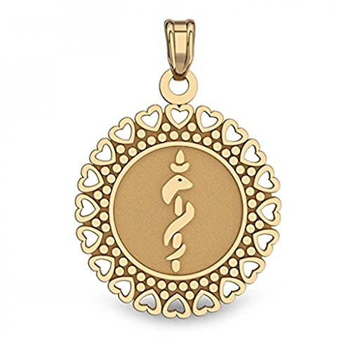 PicturesOnGold.com 14K Gold Round Medical Pendant - 3/4 Inch X 3/4 Inch WITH ENGRAVING