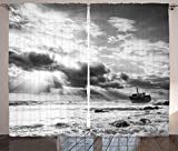 Ocean Decor Curtains Ruined Ship in the Water and Dramatic Majestic Skyline Sun Beam Reflection Living Room Bedroom Window Drapes 2 Panel Set Black and White