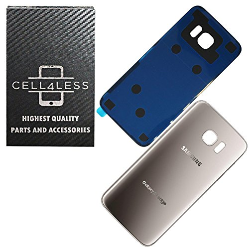 CELL4LESS Replacement Back Glass Cover Back Battery Door w/Pre-Installed Adhesive Compatible w Samsung Galaxy S7 Edge- All Models G935 All Carriers- 2 Logo - Replacement (Silver Titanium)
