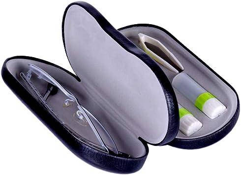 SUPVOX 2-in-1 Estuche para Gafas Caja de Lentes de Contacto Funda de Gafas Lentillas con Espejo Incorporado Incluye Recipiente para Lentillas Dos Frascos para Líquidos y Pinzas(Negro): Amazon.es: Salud y cuidado personal