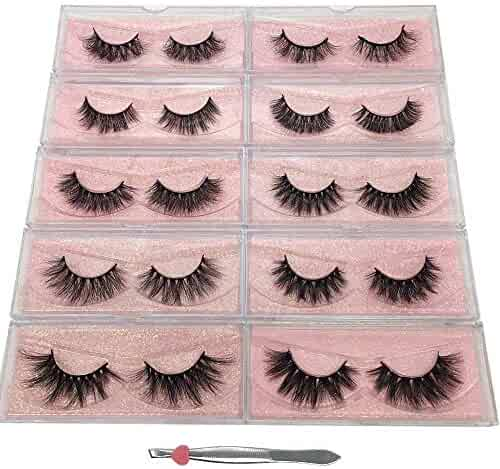dc0e63c5f02 Labeh False Eyelashes 3D Mink Fur Eyelashes Reusable Handmade Natural Lashes  Fake Eyelashes Easy to Apply