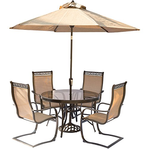 Cheap Hanover Monaco 5 Piece Outdoor Dining Set with C-Spring Chairs, Glass-top Dining Table, 9′ Umbrella and Stand