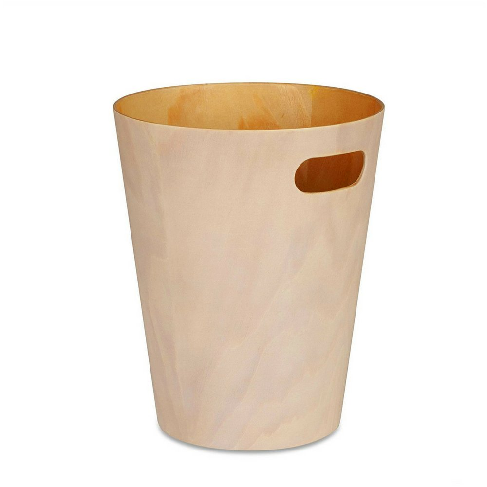 BS Office Trash Can with Handle Holder Wood Unique Small Recycling Container For Home Entryway Bathroom Any Room Modern Contemporary Durable Easy to Use 2 Gallon Capacity White & eBook by BADA shop