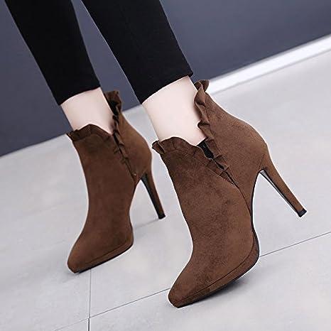 SFSYDDY-La Nueva 10Cm Sexy Zapatos De Tacón Alto Ultra Alta Con Encajes De Punta Fina Con Botas Cortas Impermeable Y Botas De…