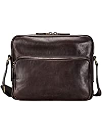 Maxwell Scott Men's Full Grain Leather Shoulder Bag - SantinoM Brown
