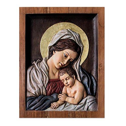 NOVICA 229851 Sleepy Baby Jesus' Cedar Relief Panel