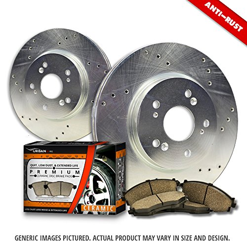 (Front Kit)2 Zinc Plated Cross Drill Disc Brake Rotors + 4 Ceramic Pads(5lug)-Combo Brake Kit-[Ships from (Jeep Cross Drilled Rotor)