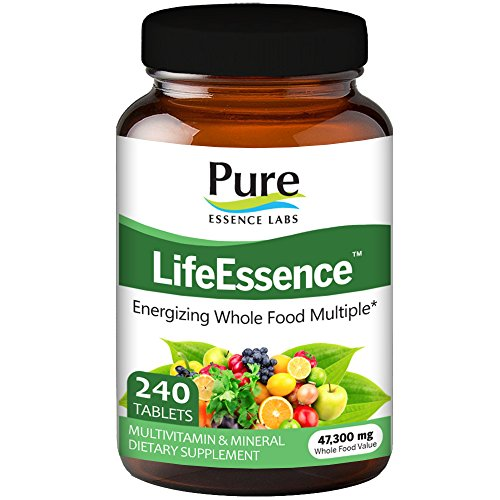 Pure Essence Labs LifeEssence Multivitamin for Women and Men - Natural Herbal Supplement with Vitamin D, D3, B12, Biotin - 240 Tablets by Pure Essence Labs