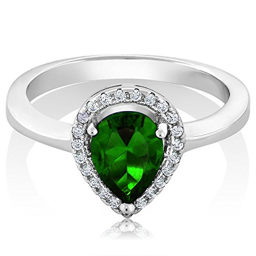 Gem Stone King 2.54 Ct Pear Shape Green Nano Emerald 925 Sterling Silver Ring (Size 8)