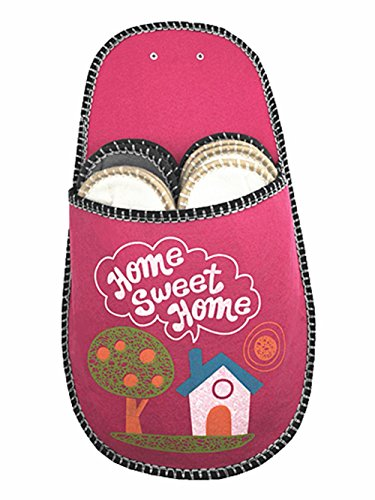 SLIPPERTREND Fleece Felt Close Toe 6 Pairs Home Sweet Home Non Slip Indoor Family House Guest Slippers Set Red by SLIPPERTREND