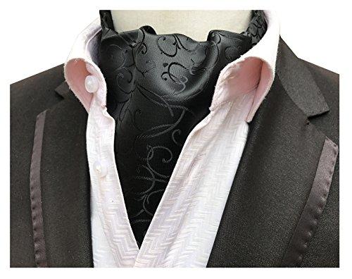 Elfeves Men's Solid Black Floral Silk Cravat Ties Jacquard Woven Ascot Best Gift (Solid Satin Cravats)