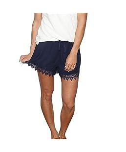 PAOLIAN Pantalones Cortos Anchos para Mujer Verano 2018 Casual Pantalones de Vestir con Encaje Fiesta Pretina Elástica Algodón Cintura Alta Suelto Pantalones Cortos señora Bermudas (L, Azul)