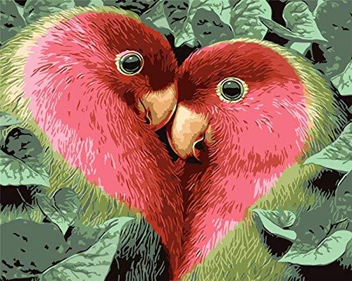 qiyan Amor sin Aves Pintado a Mano Pintura DIY Pintura Digital de acrílico Pintura al óleo Digital Pintado a Mano sobre Lienzo decoración del hogar 16 * 20 Pulgadas