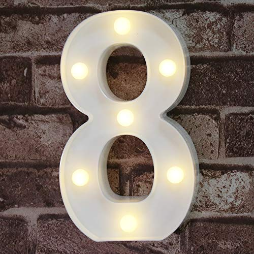 Pooqla Decorative Led Light Up Number Letters, White Plastic Marquee Number Lights Sign Party Wedding Decor Battery Operated Number (8) (Lighted Numbers Metal)