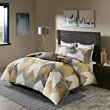 Ink+Ivy Alpine Duvet Cover Full/Queen Size - Yellow, Taupe, Grey, Ivory, Pieced Chevron Duvet Cover Set – 3 Piece – 100% Cotton Light Weight Bed Comforter Covers