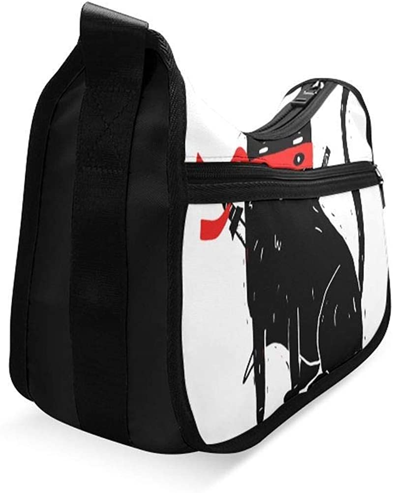 Black Cool Ninja Cat Messenger Bag Crossbody Bag Large Durable Shoulder School Or Business Bag Oxford Fabric For Mens Womens