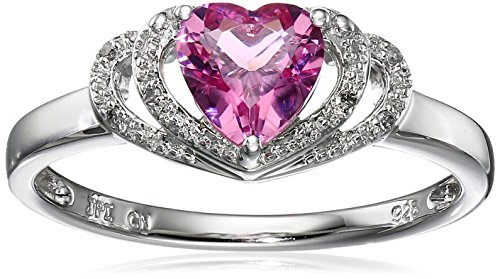 Sterling Silver Created-Pink-Tourmaline and Diamond Accent Open Halo Heart Ring, Size 8 Cut Pink Tourmaline Ring