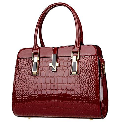 LA HAUTE Women Faux Leather Handbags Large Tote Shoulder Bags Fashion Cross Body Bags Wine Red