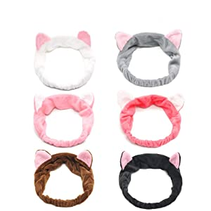 6-PACK Cat Ears Headbands, Elastic Women's Cute Hair Band, Wash Face Spa Headband - Washable Facial Band Makeup Wrap Headbands Fits All Head Sizes