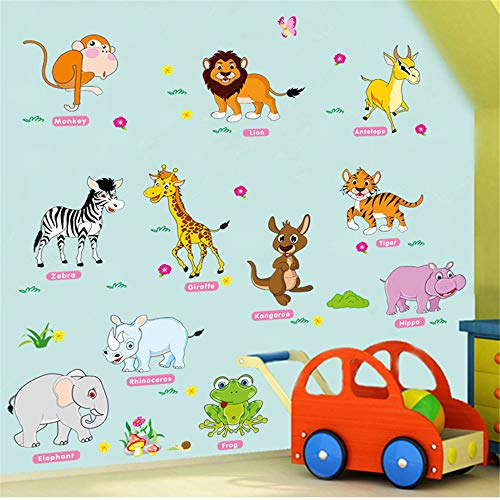 Forest Animals Giraffe Lion Monkey Palm Tree Wall Stickers for Kids Room Children Wall Decal Nursery Bedroom Decor Poster Mural12090cm -