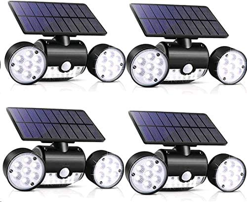 Outdoor Solar Lights, YUJENY 30 LED Dual Head Spotlights Waterproof Solar Poweredwith Wall Lights 360-Degree Rotatable Solar Motion Security Night Lights for Outdoor Pation Garden Deck 4 Pack